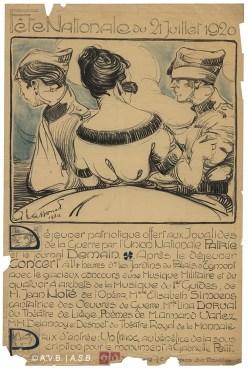 Programme des festivités, affiche, 1920, collection iconographique (Affiches 1422), Archives de la Ville de Bruxelles   Programma van de feestelijkheden, affiche, 1920, iconografische verzameling (Affiche 1422), Archief van de Stad Brussel