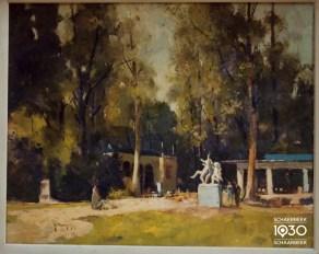 """Gérard Moortgat, """"Printemps au parc Josaphat », Kunstcollectie van de gemeente (inv. 422)"""