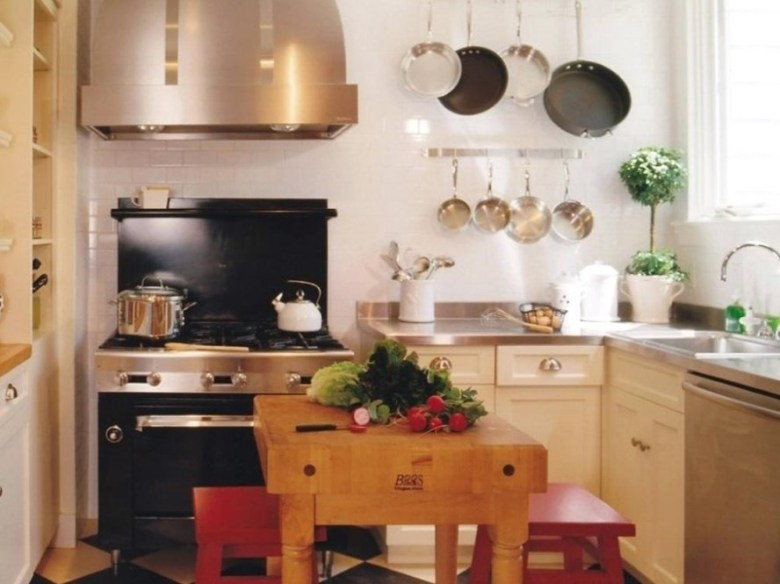 Small Kitchen with Butcher Block As An Island