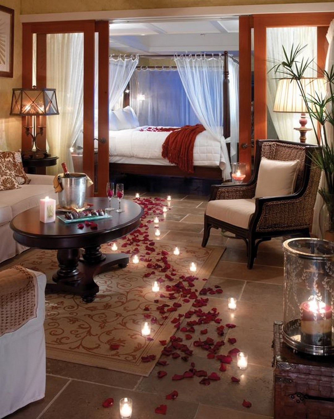 Epic and Romantic Bedroom with Rose Petals