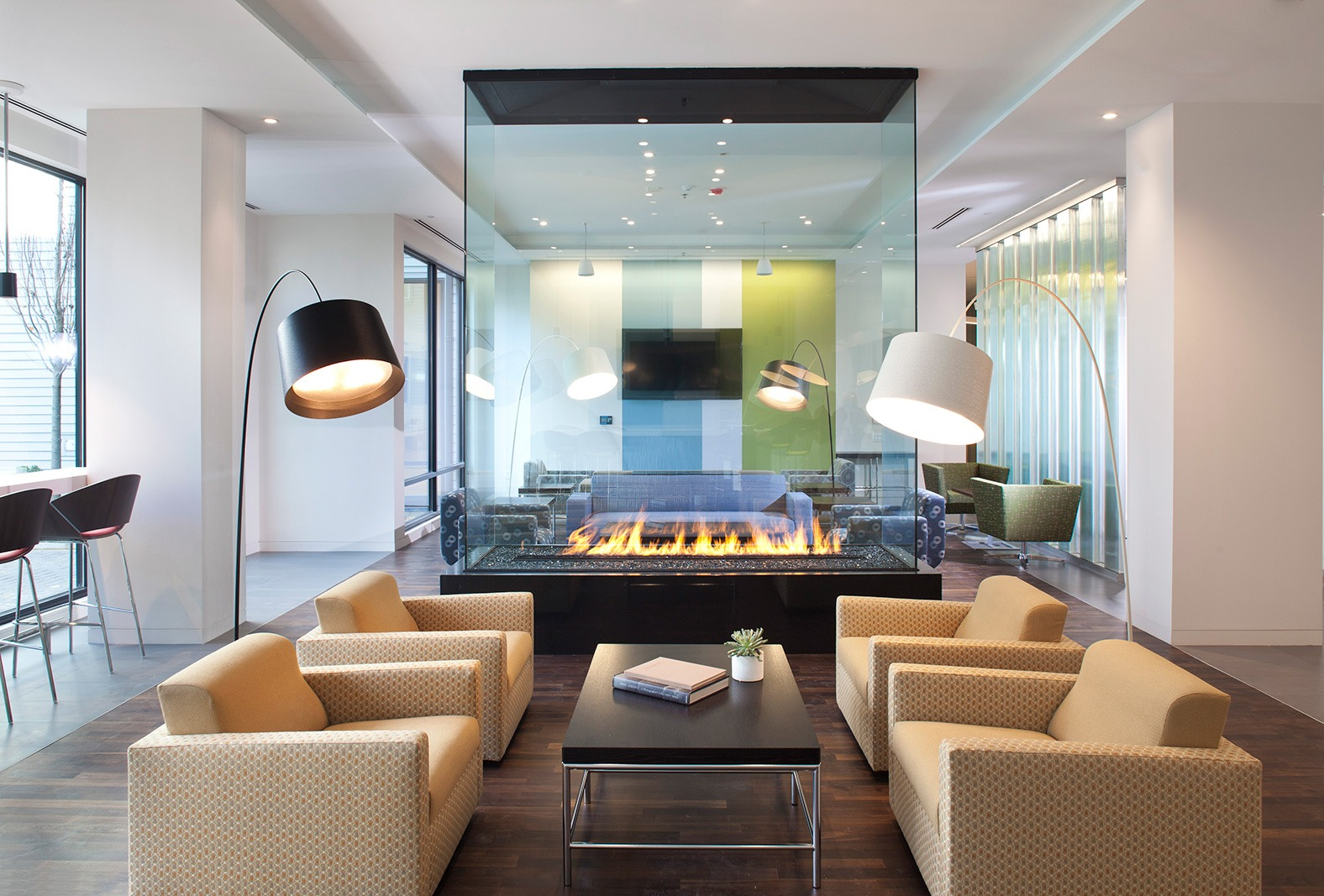Glass Living Room Fireplace