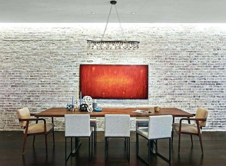 Whitewashed Brick Wall in a Dining Area