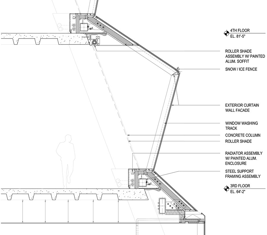 Sections Showing The Tapering Glass Pleats Of Rex S Facade Design