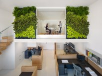 Awesome-Grey-Booksleves-also-Cool-Green-Plant-Wall-and-Chic-Modern-Staircase