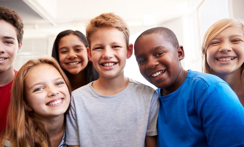 diverse group of happy children