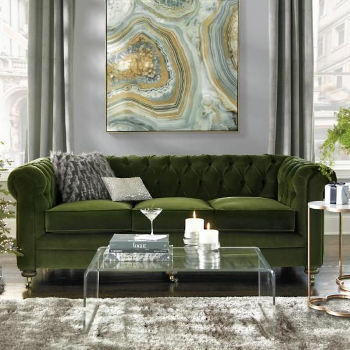 color schemes for living room with green sofa white tufted 1001 ideas to transform your home lush two grey cushions clear glass table lit candles 70 a stylish