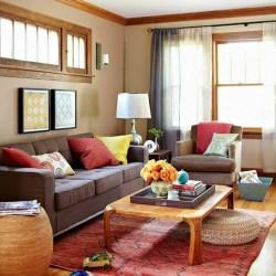 room living sofa wooden brown grey orange carpet colors cushions pale chair table yellow walls curtains floors cushion pillows floor