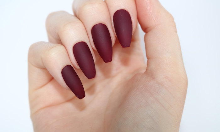 Shape Nails Matte Coffin Red