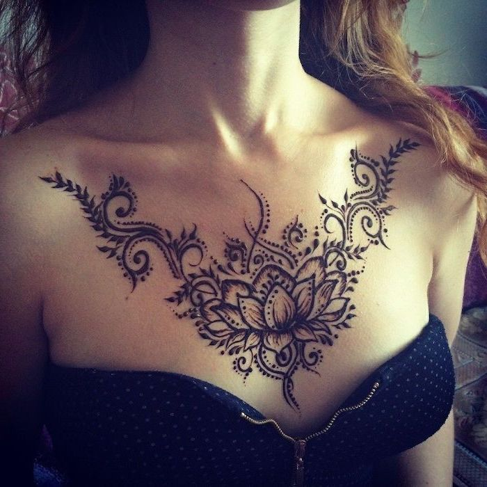 Female Small Chest Tattoos Images