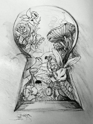 draw things cool wonderland alice easy sketch bored drawings pencil through sketches beginners tutorials key archzine unique 3d hipster hole
