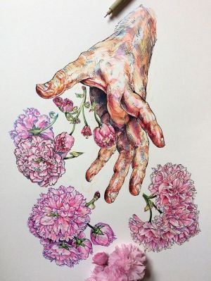 draw things drawing beginners easy cool drawings hand flowers pencil tutorials pink colourful archzine sketch coraline inspired 1001 background