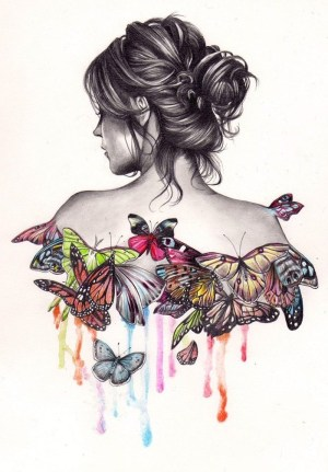 draw things easy cool drawings background colourful butterflies drawing woman fun pencil bun sketch archzine girly tutorials messy steps 1001