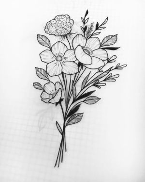 bouquet flowers flower drawing easy simple sketch draw floral rose drawings bunch pencil pen sunflower step tutorials cool archzine 1001