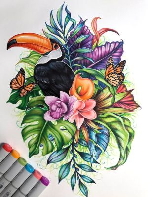 flowers draw easy drawing tutorials flower drawings simple colored background butterfly butterflies bird colorful 1001 jungle archzine around painting toucan
