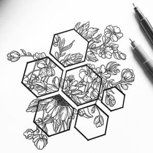 drawing flowers easy pencil honeycomb geometric sketch drawings draw designs pen archzine tattoo flower simple step rose sketches shapes bee