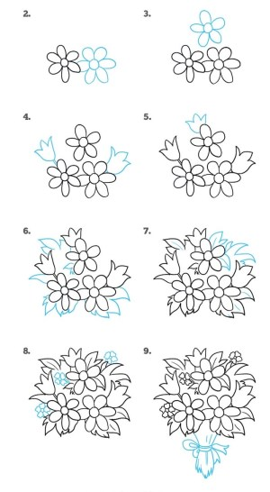 draw easy step flower bouquet tutorial rose drawing flowers simple tutorials diy background another