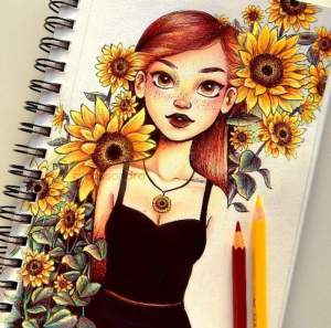 draw easy flowers drawings drawing cool colored simple sunflowers hair rose tutorials surrounded painting