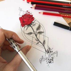 simple flowers draw easy drawings drawing flower rose colored strong stay pencils cool background tutorials pencil hand holding