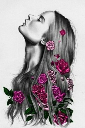 drawing flowers hair easy drawings flower sketch pencil simple draw woman roses tangled painting crown pink rose amazing pretty archzine