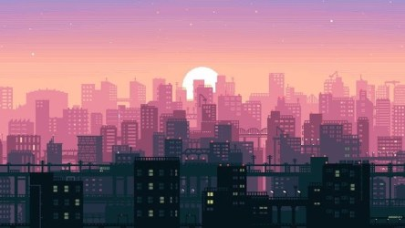 aesthetic laptop backgrounds pink sunset computer skyline animated sun buildings phone things