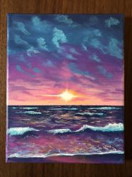 painting acrylic aesthetic ocean canvas pink dark sunset sky waves easy paintings beginners beach sun archziner simple inspiration placed skies