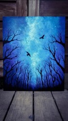 acrylic painting canvas easy paintings dark beginners simple beginner sky inspiration trees two birds archziner techniques spare fill tree watercolor