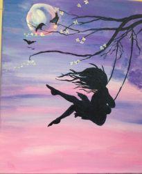 painting sunset paint canvas sky beginners acrylic purple pink swing tree birds moon woman