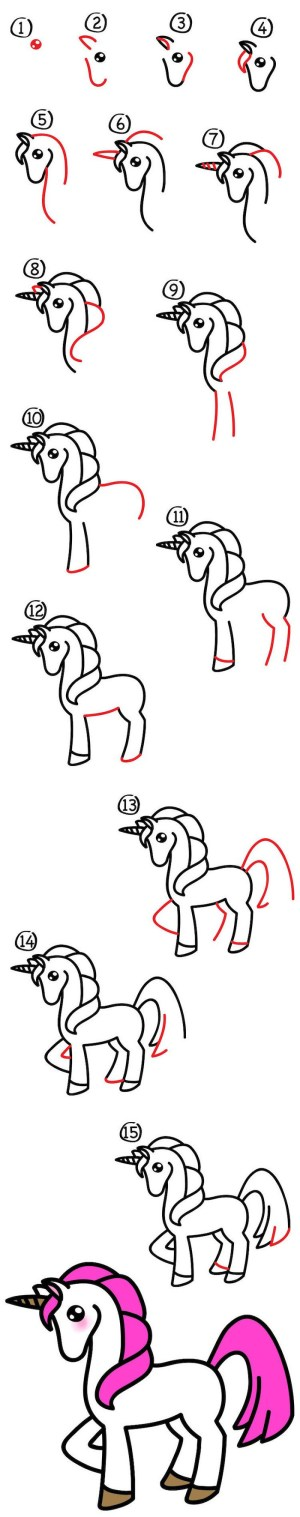 unicorn draw step drawing tutorial steps wings easy another 1001 drawn
