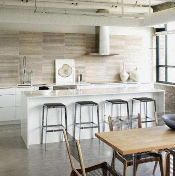cuisine blanc et bois moderne