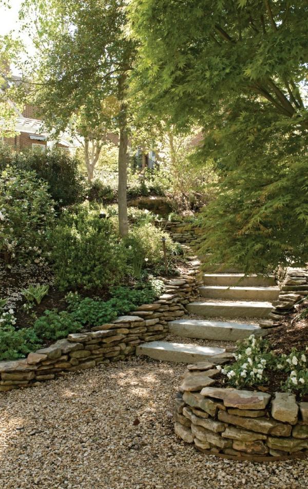 beau jardin avec le gravier pour