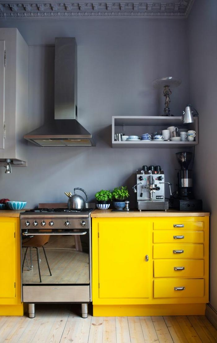 couleur mur cuisine avec meuble bois