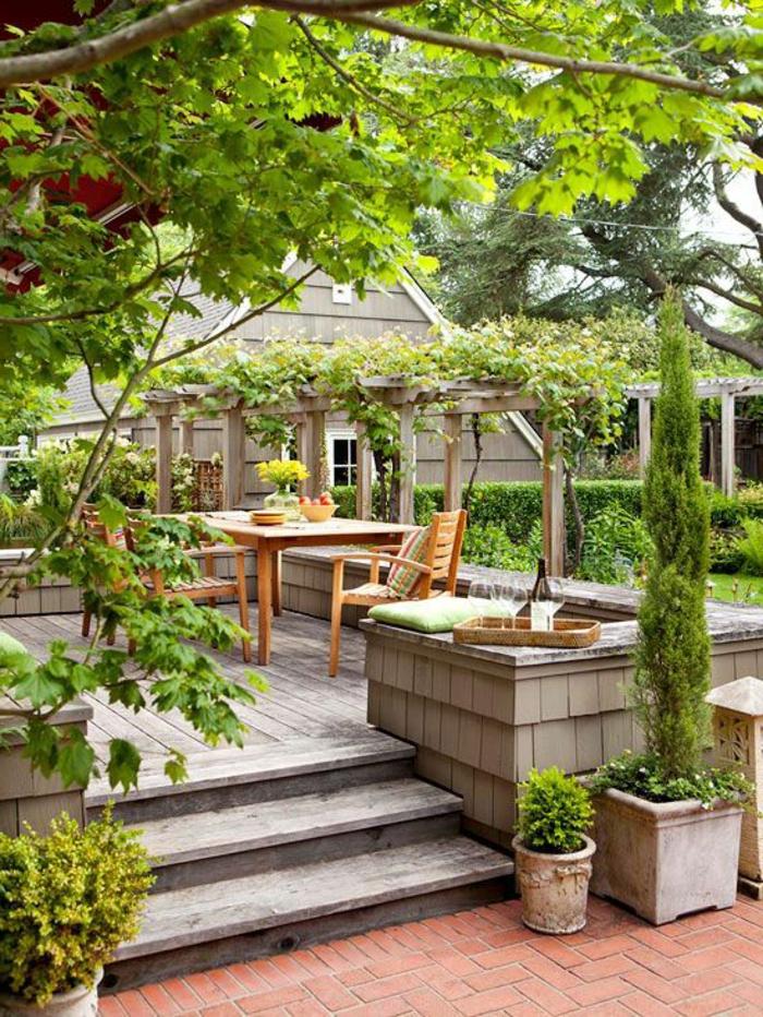 Table de jardin en bois avec banc remc homes - Table jardin nice tours ...