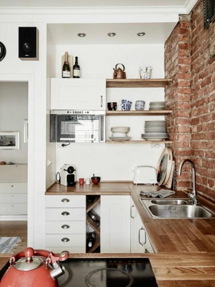 cuisine blanche et bois clair