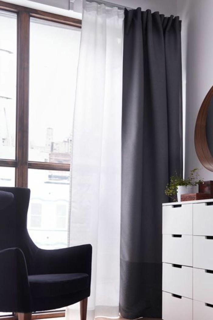 Rideaux De Cuisine Blanc Et Gris | Rideau Penderie Ikea ...