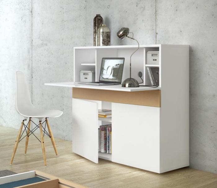 Bureau Secr Taire Blanc Design Moderne Placard Et Rangement
