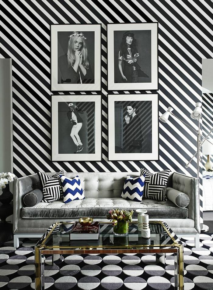 Le papier peint noir et blanc est toujours un singe dlgance