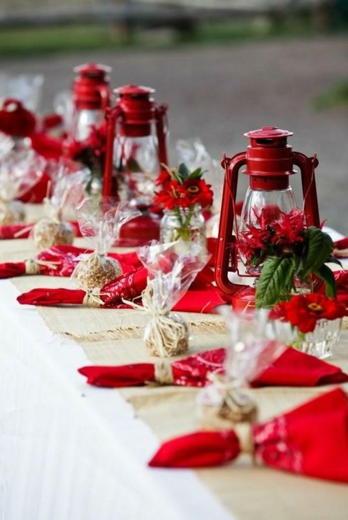 Deco de table noel or et rouge