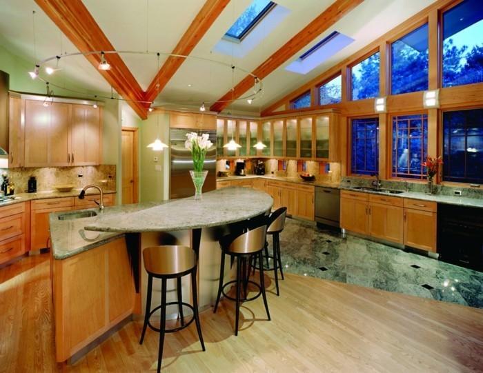 plan de cuisine moderne avec ilot central