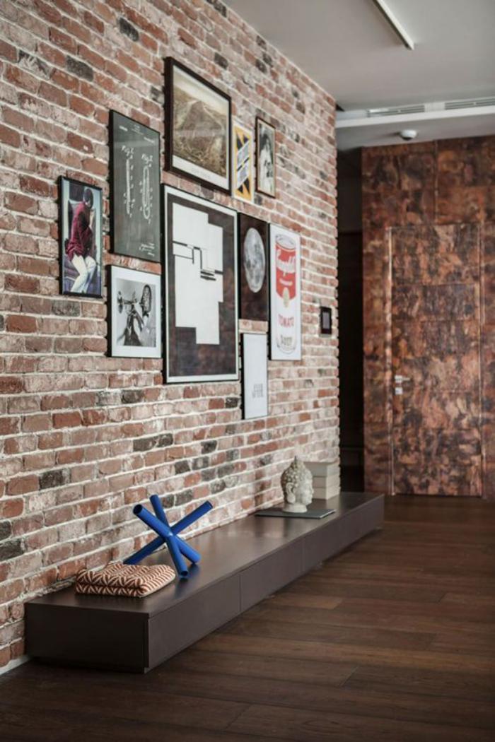 La brique rouge  lment dco principal du loft contemporain