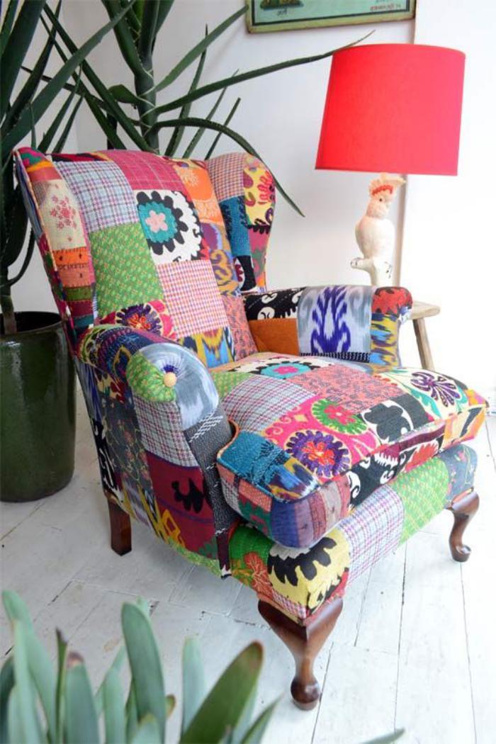 Le fauteuil patchwork  une pice boho chic pour faire votre intrieur vibrer