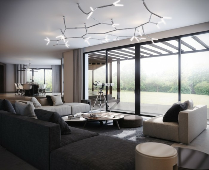 Maison style contemporaine  laide de plafond moderne
