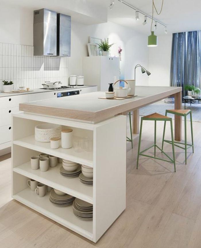 S maison cuisine cuisine blanche et bois - Cuisine blanche plan travail bois ...