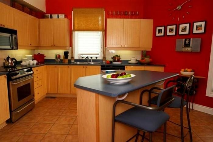 Exemple Peinture Cuisine Rouge Meuble Cuisine En Bois