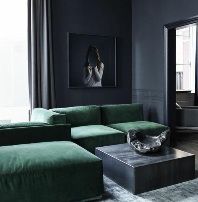 idee deco salon vert et gris