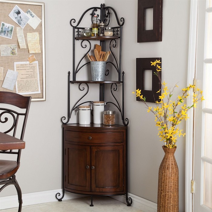 Corner Bakers Rack With Cabinet