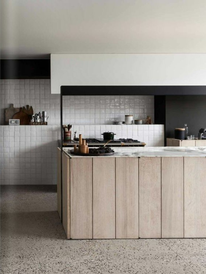 beton ciré cuisine plan travail