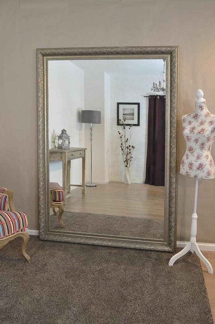 Miroir Mural Blanc Simili Cuir Strass