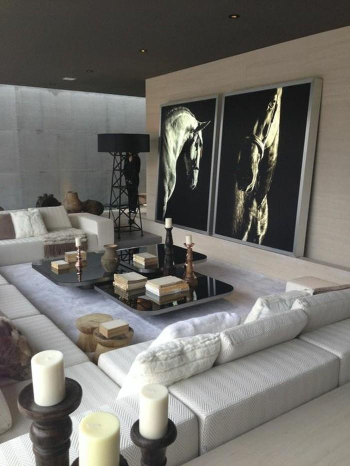 Salon Noir Blanc Gris Jaune - Décoration de maison idées de design d ...