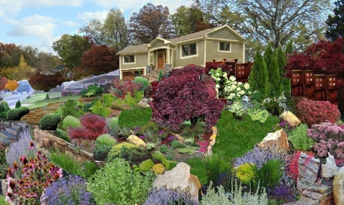 Modele De Jardin Entourant Une Maison Rocaille Fleurie