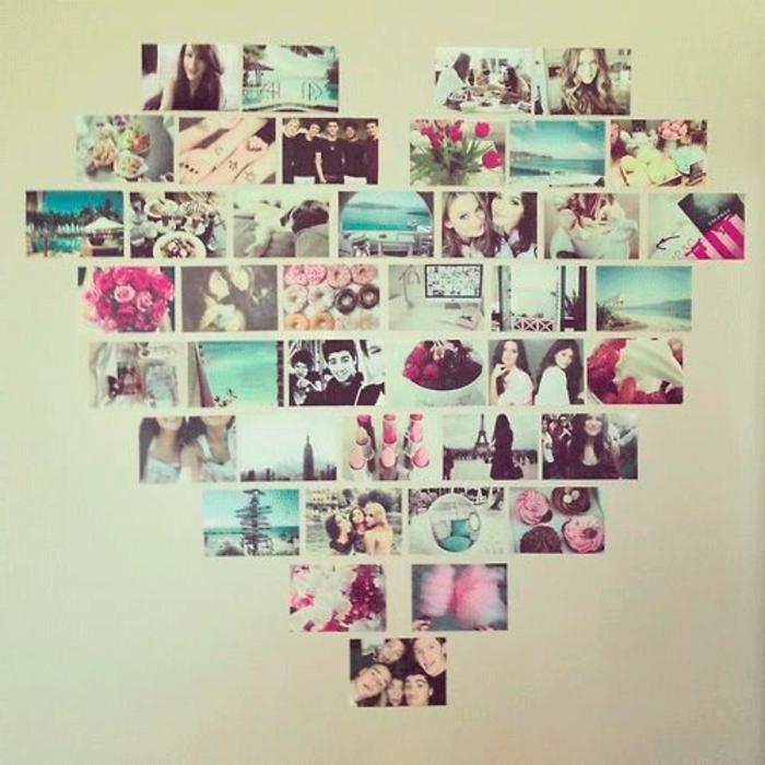 astuce deco fait maison pele mele de photos disposees en forme de coeur